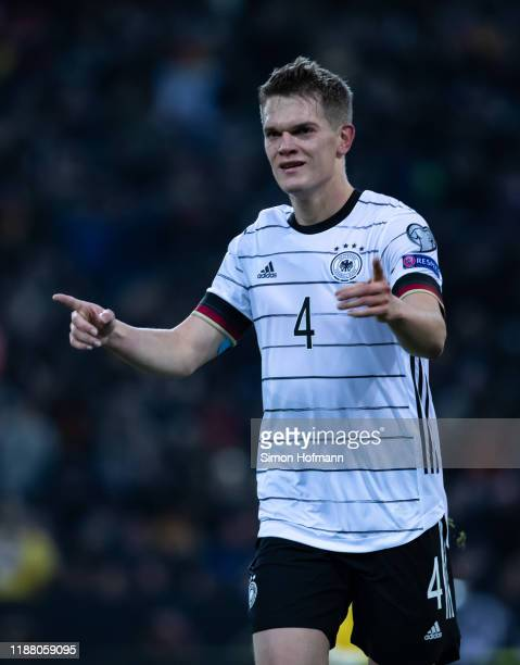 Matthias Ginter of Germany celebrates his team's first goal goal during the UEFA Euro 2020 Qualifier match between Germany and Belarus on November 16...