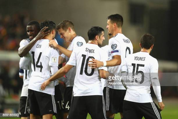 Matthias Ginter of Germany celebrates the 5th goal with his team mates during the FIFA 2018 World Cup Qualifier between Germany and Azerbaijan at...