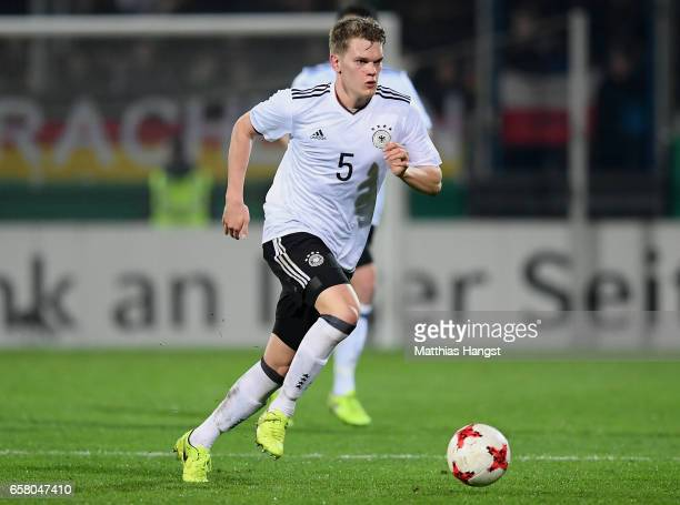 Matthias Ginter of Germany controls the ball during the U21 International Friendly match between U21 Germany and U21 England at BRITA-Arena on March...