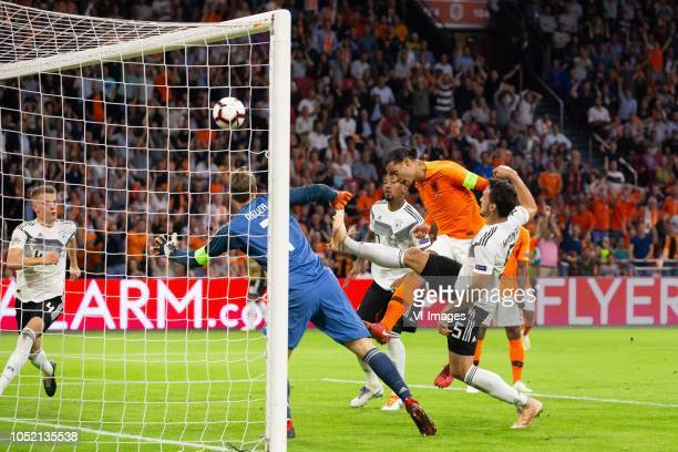 Matthias Ginter of Germany Germay goalkeeper Manuel Neuer Jerome Boateng of Germany Virgil van Dijk of Holland Mats Hummels of Germany during the...
