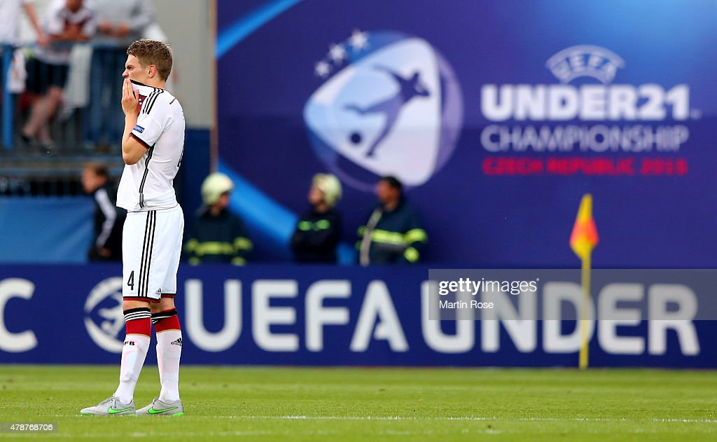 Matthias Ginter of Germany reacts after the UEFA European Under-21 semi final match Between Portugal and Germany at Ander Stadium on June 27, 2015 in Olomouc, Czech Republic.
