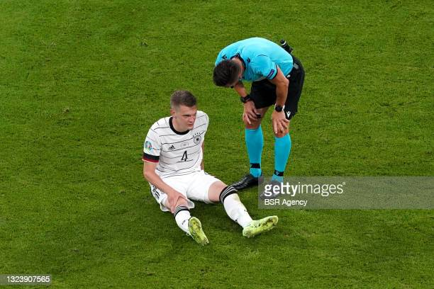 Matthias Ginter of Germany, Referee Carlos Del Cerro Grande during the UEFA Euro 2020 match between France and Germany at Allianz Arena on June 15,...