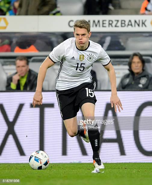 Matthias Ginter of Germany runs with the ball during the International Friendly match between Germany and Italy at Allianz Arena on March 29 2016 in...