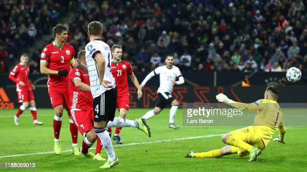 Matthias Ginter of Germany scores his team's first goal during the UEFA Euro 2020 Group C Qualifier match between Germany and Belarus on November 16...