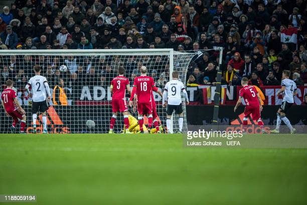 Matthias Ginter of Germany scores his team's first goal during the UEFA Euro 2020 Qualifier between Germany and Belarus on November 16 2019 in...