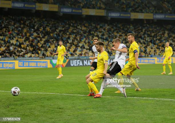 Matthias Ginter of Germany scores his team's first goal during the UEFA Nations League group stage match between Ukraine and Germany at NSC...