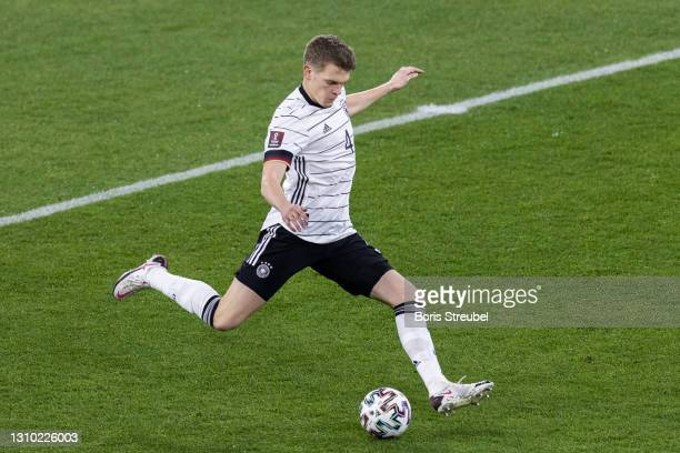 Matthias Ginter of Germany takes a shot during the FIFA World Cup 2022 Qatar qualifying match between Germany and North Macedonia on March 31, 2021...