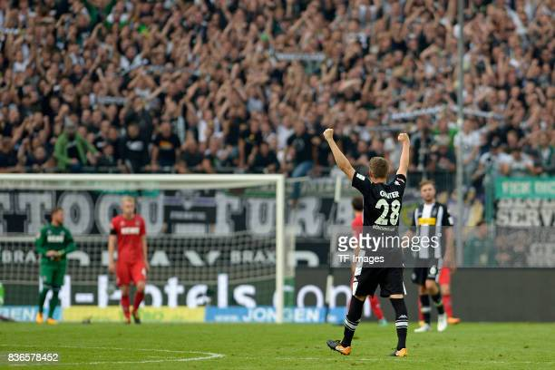 Matthias Ginter of Moenchengladbach celebrate a goal during the Bundesliga match between Borussia Moenchengladbach and 1 FC Koeln at BorussiaPark on...