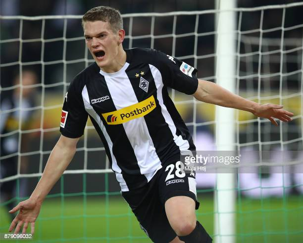 Matthias Ginter of Moenchengladbach celebrates after he scored a goal to make it 20 during the Bundesliga match between Borussia Moenchengladbach and...