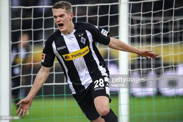 Matthias Ginter of Moenchengladbach celebrates after scoring his team's second goal to make it 20 during the Bundesliga match between Borussia...