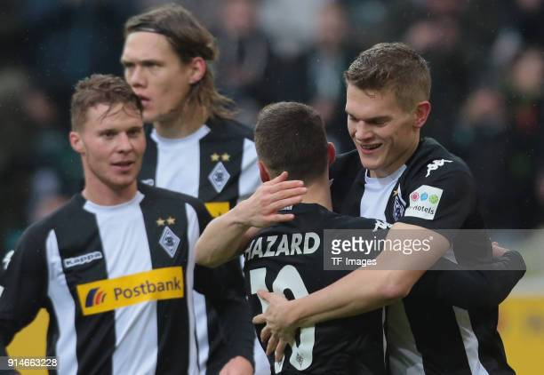 Matthias Ginter of Moenchengladbach celebrates after scoring his team`s first goal with Thorgan Hazard during the Bundesliga match between Borussia...