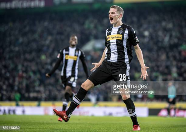 Matthias Ginter of Moenchengladbach celebrates his side's second goal during the Bundesliga match between Borussia Moenchengladbach and FC Bayern...