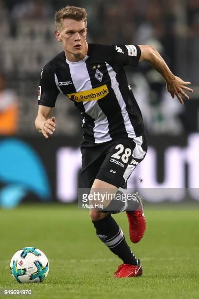 Matthias Ginter of Moenchengladbach controls the ball during the Bundesliga match between Borussia Moenchengladbach and VfL Wolfsburg at BorussiaPark...