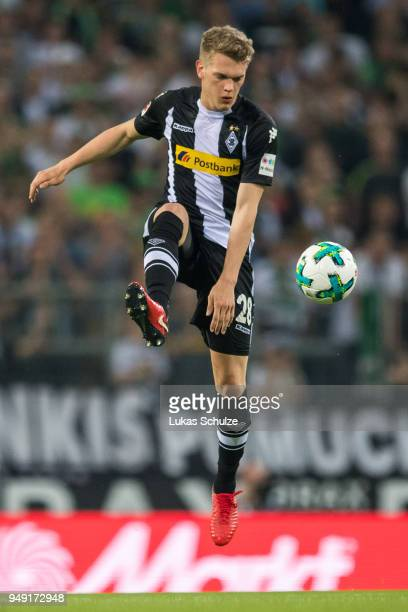 Matthias Ginter of Moenchengladbach in action during the Bundesliga match between Borussia Moenchengladbach and VfL Wolfsburg at BorussiaPark on...