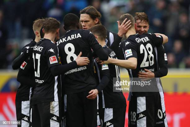 Matthias Ginter of Moenchengladbach is celebrates by his team mates after he scored a goal to make it 10 during the Bundesliga match between Borussia...