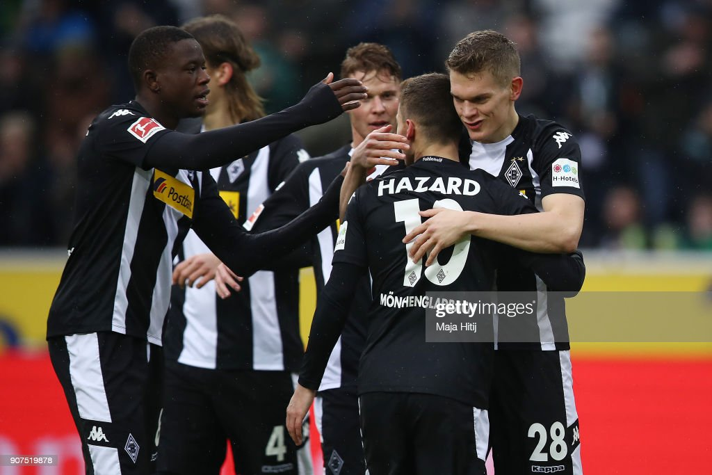 Matthias Ginter of Moenchengladbach (28) is celebrates by his team mates after he scored a goal to make it 1:0 during the Bundesliga match between Borussia Moenchengladbach and FC Augsburg at Borussia-Park on January 20, 2018 in Moenchengladbach, Germany.