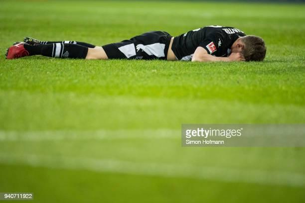 Matthias Ginter of Moenchengladbach reacts during the Bundesliga match between 1 FSV Mainz 05 and Borussia Moenchengladbach at Opel Arena on April 1...