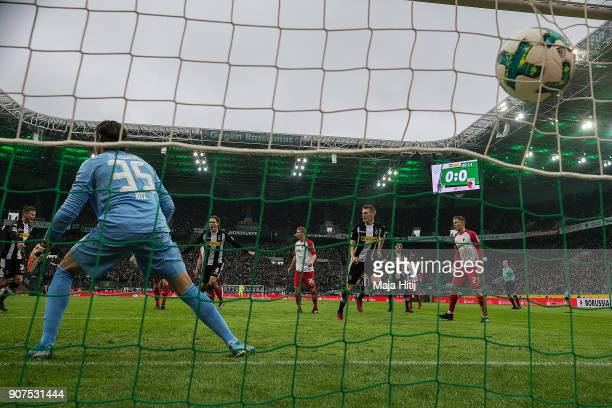 Matthias Ginter of Moenchengladbach scores a goal past goalkeeper Yann Sommer of Moenchengladbach to make it 10 during the Bundesliga match between...