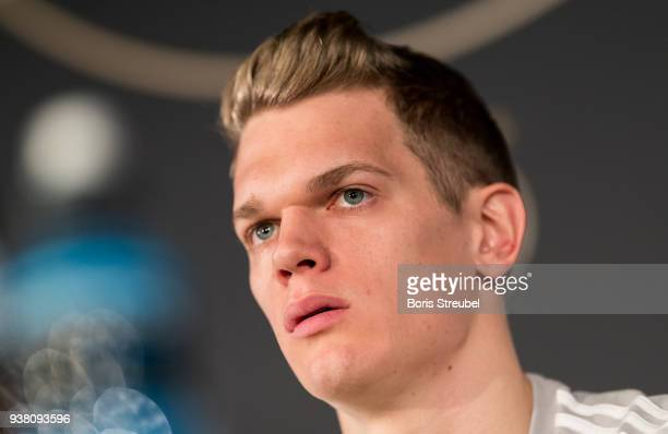 Matthias Ginter player of the German National Team attends a press conference at Mercedes Benz on March 26 2018 in Berlin Germany