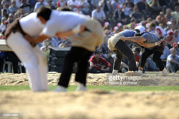 Matthias Glarner fights with Stefan Fausch during the opening day of the Federal Alpine Wrestling Festival on August 21 2010 in Frauenfeld east of...