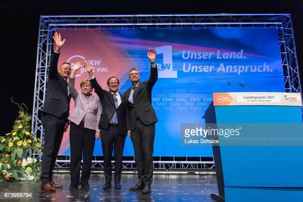 Matthias Goeken German Chancellor and Chairwoman of the German Christian Democrats Angela Merkel local CDU lead candidate Armin Laschet and Christian...