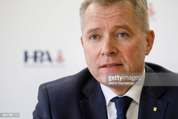 Matthias Grabe CTO of the Hamburg Port Authority attends a press conference in Hamburg Port on April 11 2018 in Hamburg Germany Hamburg Port is...