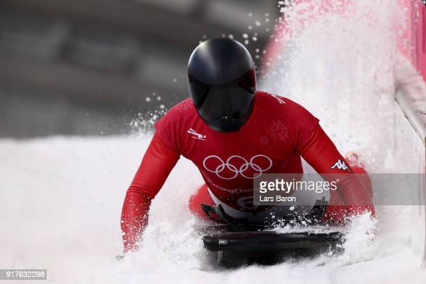 Matthias Guggenberger of Austria trains during the Mens Skeleton training session on day four of the PyeongChang 2018 Winter Olympic Games at Olympic...