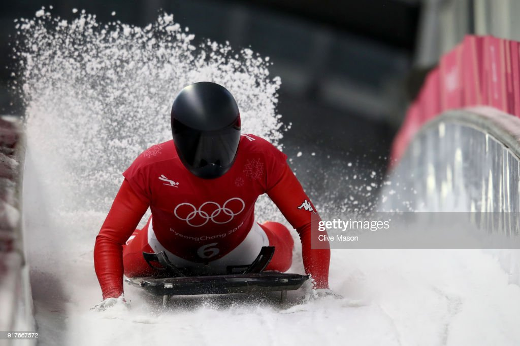 Matthias Guggenberger of Austria trains during the Mens Skeleton training session on day four of the PyeongChang 2018 Winter Olympic Games at Olympic Sliding Centre on February 13, 2018 in Pyeongchang-gun, South Korea.