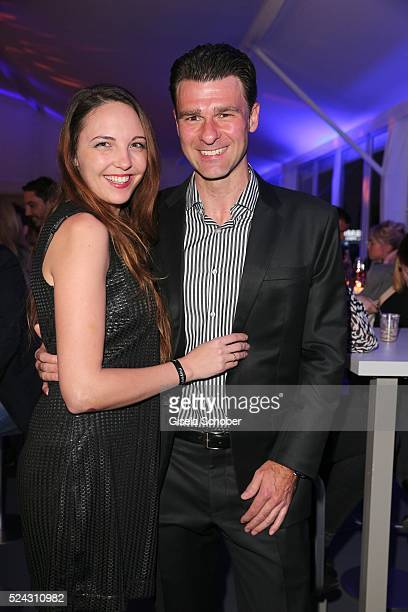 Matthias Hahn and his fiance Albina Hahn during the Players Night of the BMW Open 2016 tennis tournament at Iphitos tennis club on April 25 on April...