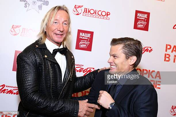 Matthias Hues and Casper Van Dien attend 'Showdown in Manila' premiere in October cinema hall on February 9 2016 in Moscow Russia