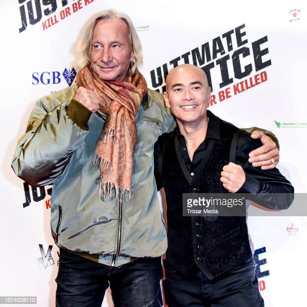 Matthias Hues and Marc Dacascos during the 'Ultimate Justice' premiere at Kino Alexa on December 14 2018 in Berlin Germany