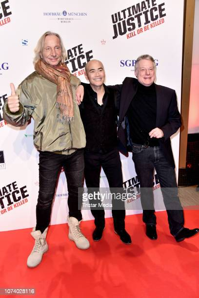 Matthias Hues Marc Dacascos and Wolfgang Riehm during the 'Ultimate Justice' premiere at Kino Alexa on December 14 2018 in Berlin Germany
