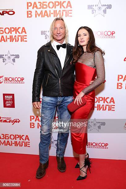 Matthias Hues Natalya Gubina attend 'Showdown in Manila' premiere in October cinema hall on February 9 2016 in Moscow Russia