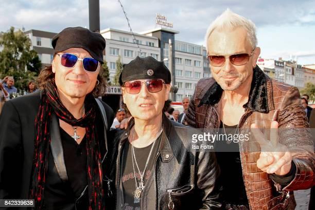 Matthias Jabs Klaus Meine and Rudolf Schenker of the band 'Scorpions' attend the 'Nacht der Legenden' at Schmidts Tivoli on September 3 2017 in...