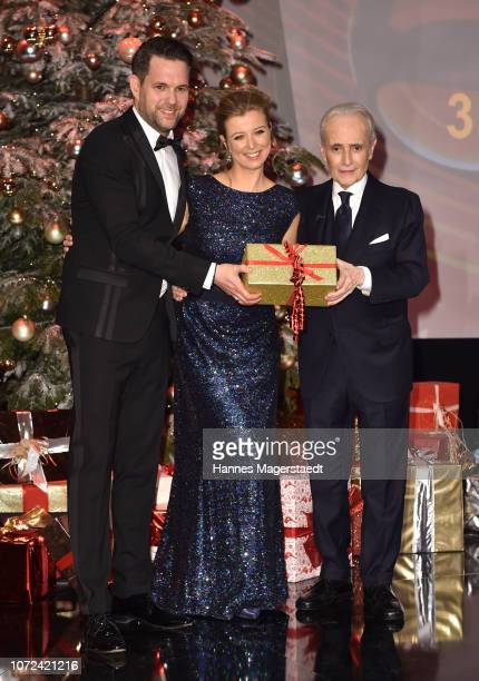 Matthias Killing Nina Eichinger and Jose Carreras during the 24th Annual Jose Carreras Gala at Bavaria Studios on December 12 2018 in Munich Germany