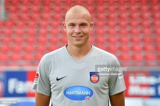 Matthias Koebbing of 1 FC Heidenheim poses during the team presentation at VoithArena on July 6 2018 in Heidenheim Germany