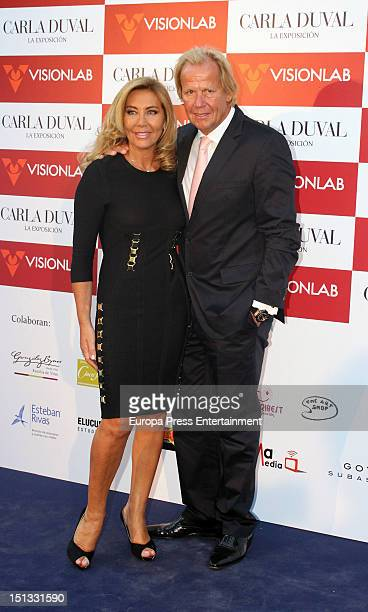 Matthias Kuhn and Norma Duval attend the painting exhibition of Carla Duval at Casa de Vacas on September 5 2012 in Madrid Spain