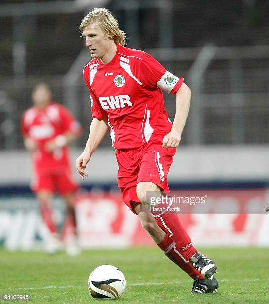 Matthias Lang of Worms plays the ball during the Regionalliga match between 1 FC Saarbruecken and Wormatia Worms at the Ludwigspark stadium on...