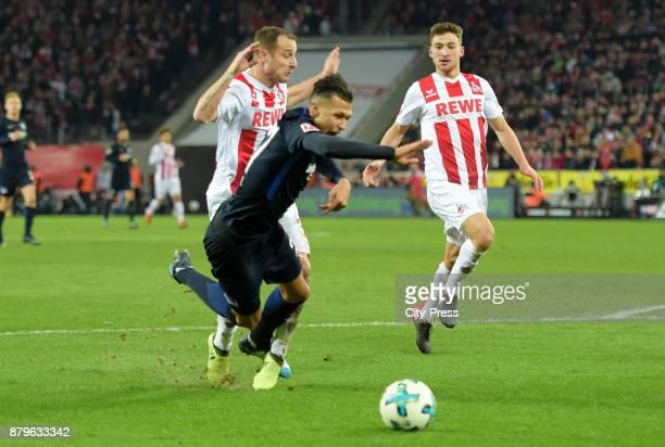 Matthias Lehmann of 1 FC Koeln Davie Selke of Hertha BSC and Salih Oezcan of 1 FC Koeln during the game between 1 FC Koeln and Hertha BSC on November...