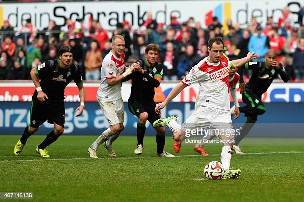 Matthias Lehmann of 1 FC Koeln scores the equalizing goal during the Bundesliga match between 1 FC Koeln and SV Werder Bremen at RheinEnergieStadion...