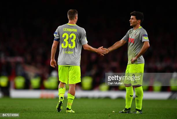 Matthias Lehmann of FC Koeln and Milos Jojic of FC Koeln after the UEFA Europa League group H match between Arsenal FC and 1 FC Koeln at Emirates...