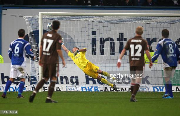 Matthias Lehmann of Hamburg scores the first goal during the Second Bundesliga match between FC Hansa Rostock and FC St Pauli at the DKB Arena on...
