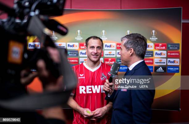 Matthias Lehmann of Koeln smiles during an interview after the UEFA Europa League group H match between 1 FC Koeln and BATE Borisov at...