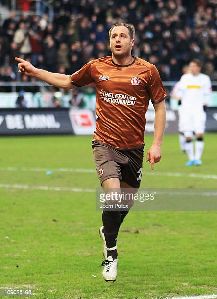 Matthias Lehmann of StPauli celebrates after scoring his team's third goal during the Bundesliga match between FC StPauli and Borussia...
