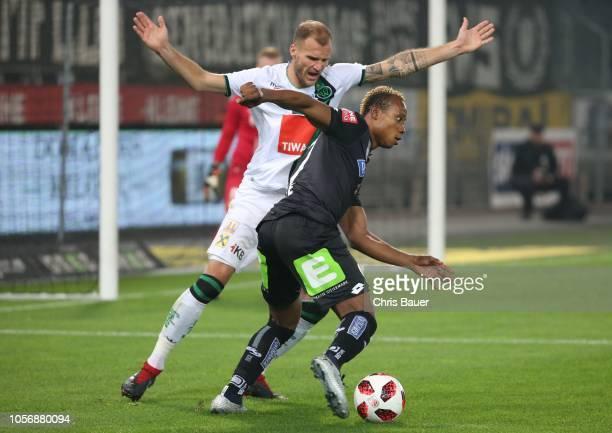 Matthias Maak of Wacker Innsbruck Emeka Eze of Sturm Graz during the tipico Bundesliga match between SK Sturm Graz and FC Wacker Innsbruck at Merkur...