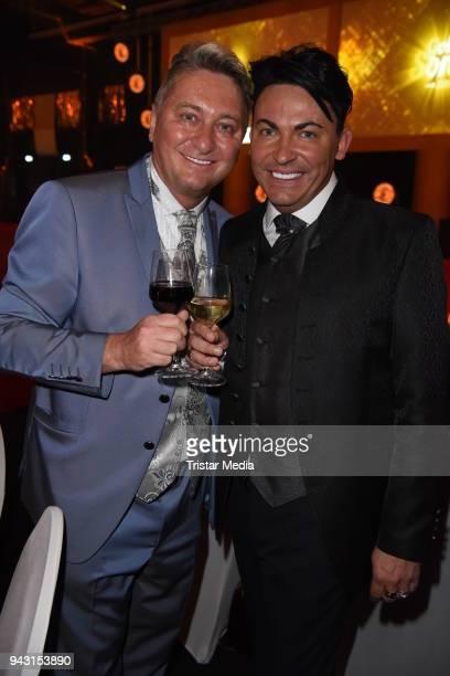 Matthias Mangiapane and his boyfriend Hubert Fella attend the 'Goldene Sonne 2018' Award by SonnenklarTV on April 7 2018 in Kalkar Germany