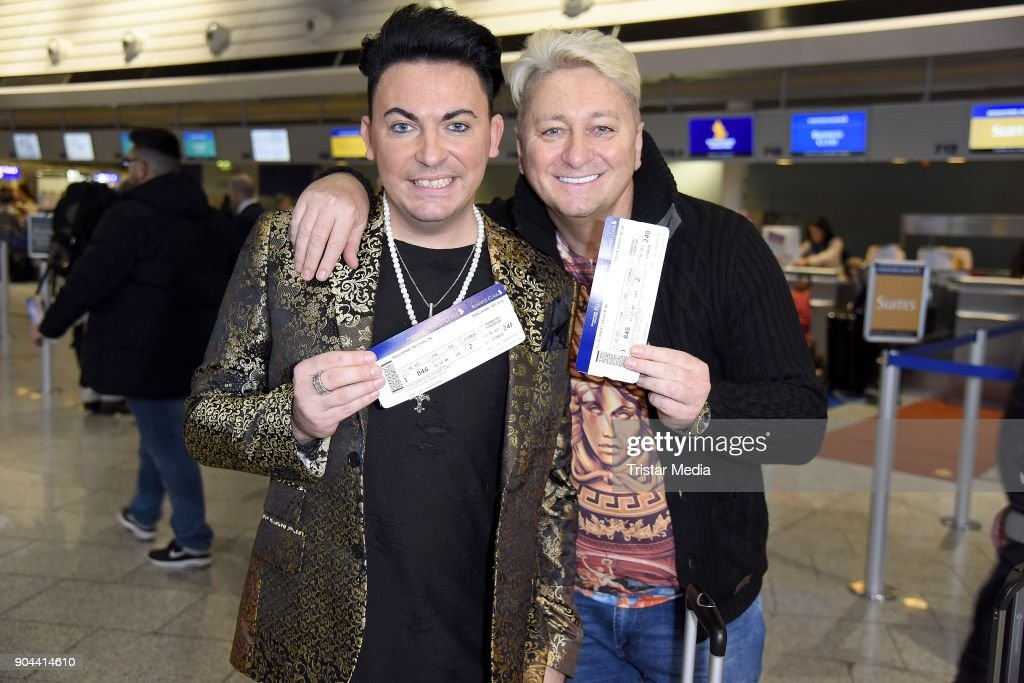 Matthias Mangiapane and his boyfriend Hubert Fella leave for 'I'm a celebrity - Get Me Out Of Here!' ('Ich bin ein Star - Holt mich hier raus!') in Australia from Frankfurt International Airport on January 13, 2018 in Frankfurt am Main, Germany. 'I'm a celebrity - Get Me Out Of Here!' ('Ich bin ein Star - Holt mich hier raus!'), also known as 'Jungle Camp' ('Dschungel- Camp') is an annual Germany TV show.