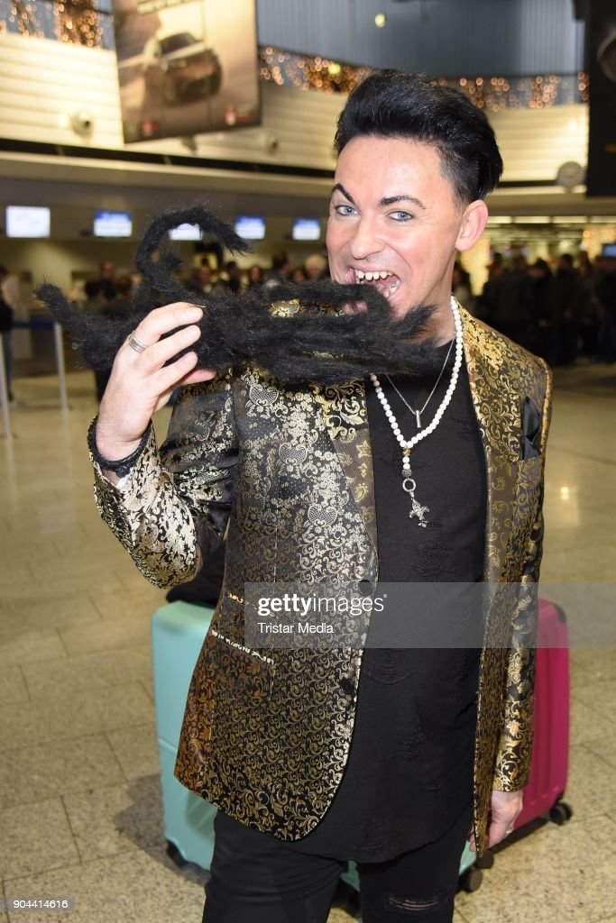 Matthias Mangiapane leaves for 'I'm a celebrity - Get Me Out Of Here!' ('Ich bin ein Star - Holt mich hier raus!') in Australia from Frankfurt International Airport on January 13, 2018 in Frankfurt am Main, Germany. 'I'm a celebrity - Get Me Out Of Here!' ('Ich bin ein Star - Holt mich hier raus!'), also known as 'Jungle Camp' ('Dschungel- Camp') is an annual Germany TV show.