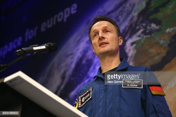 Matthias Maurer the newest astronaut of the European Space Agency speaks to the media during a press conference at ESA's central space mission...