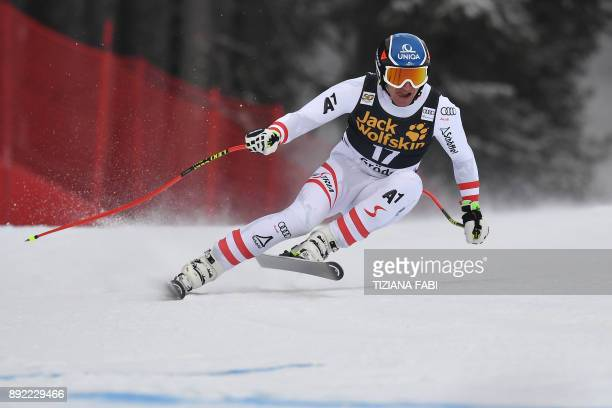 Matthias Mayer from Austria competes during a training for the FIS Alpine World Cup Men Downhill on December 14 2017 in Val Gardena Italian Alps /...